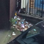 Rubbish outside view from hotel room. Dirt under the mattress.