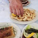 Calamari, ribs, spanakopita, stuffed grape leaves