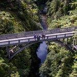 Walk the short distance through native bush to the Bridge to Nowhere.