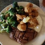 Sirloin steak made, to order, buttermilk dipped shrimp, and amazing broccoli salad. Delicious!!!
