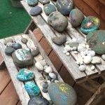 Rock decorating station at the Rialto tiny house