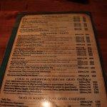 Shamrock Irish Bar - menu