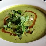 Chilled green pea soup.