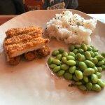 Keiki Panko Chicken with rice and edamame