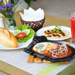 Sunrise egg, meat balls with Vietnamese baguette and chocolate pancake with watermelon juice