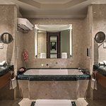 Luxurious marble bathroom with mood lighting