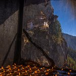 Almost near to the Taktsang Monastery. Seen through a small prayer room.