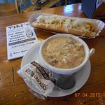 The clam chowder deserves the award-winning title and the foot long hotdog & sauerkraut was yumm
