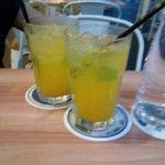 Buy one take one mango juice.