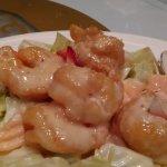 Shrimp with fruit salad