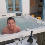 One of the two spa baths in the honeymoon suite, best served with Prosecco.