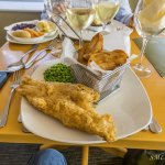 Our delicious fried cod with plenty of side vegetables