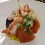 Shrimp w/ slightly spicy accompaniments with an apricot jelly to neutralize heat.