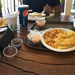 fish & chips, salmon bagel and waffles.