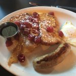 Raspberry french toast with egg and sausage
