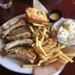 Half-rack of ribs, fries, coleslaw, corn bread