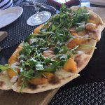 Peach Flatbread Pizza with Arugula