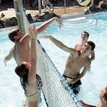 Play some volleyball in Blue Iguana Lagoon.