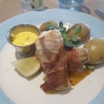 Monk fish wrapped in ham with a tartar hollandaise... yum!