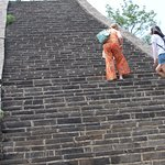 Climbing up steps on the Great Wall