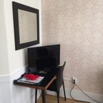 Desk and TV (Netflix was offered free as well as regular cable)