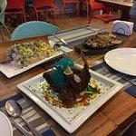 sisig, fish and rice