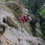 Rappelling down the cliff
