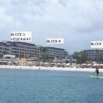 hotel layout as viewed from the beach. Diamond Club isn't shown but is to the right of the photo
