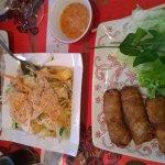 nems au porc, nems au poulet, nems aux crevettes et salade thaie