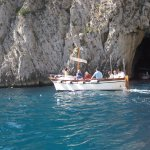 Capri: The entrance to the Blue Grotto. Only small  boats get in.