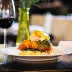 draper valley crispy chicken - dungeness crab, spinach, asparagus, rice pilaf, sauce hollandaise