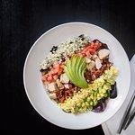 pacific cobb salad - chicken, bacon, avocado, tomato, egg, bleu crumbles, herb vinaigrette