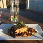 Grilled Georges Bank Swordfish w crispy potato leek hash