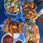 shrimp tostada, stir fry and fish and chips