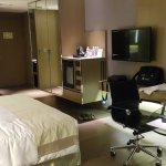 A spacious & pretty room, ample working space.