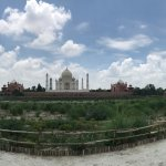 Panoramic view of Taj Mahal.