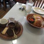 Delicious coffee and fresh bread
