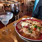 Chicken enchiladas - margarita on the rocks - red wine