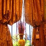 Heavy golden curtains