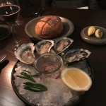 Bread, butter selection and oysters