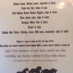 Blacksmith's current menu and child's menu