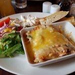 Seafood lasagna with side salad.