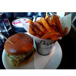Blue cheese burger with handcut fries