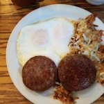 3 eggs w/sausage & hash browns $9.70