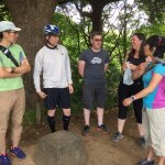 Asking Yukiko questions about the traditional Japanese tea garden we were stopped at
