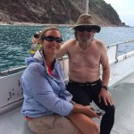 Tom with Sarah Bellevang aboard E Z Go In dive boat.