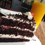 Black Forest cake and fresh mango juice