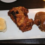 Terrible greasy fried chicken with a soggy biscuit and mashed.
