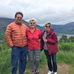 Kathy with my sister and brother-in-law in front of the Glencoe highlands.