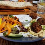 Falafel and hummus starter.